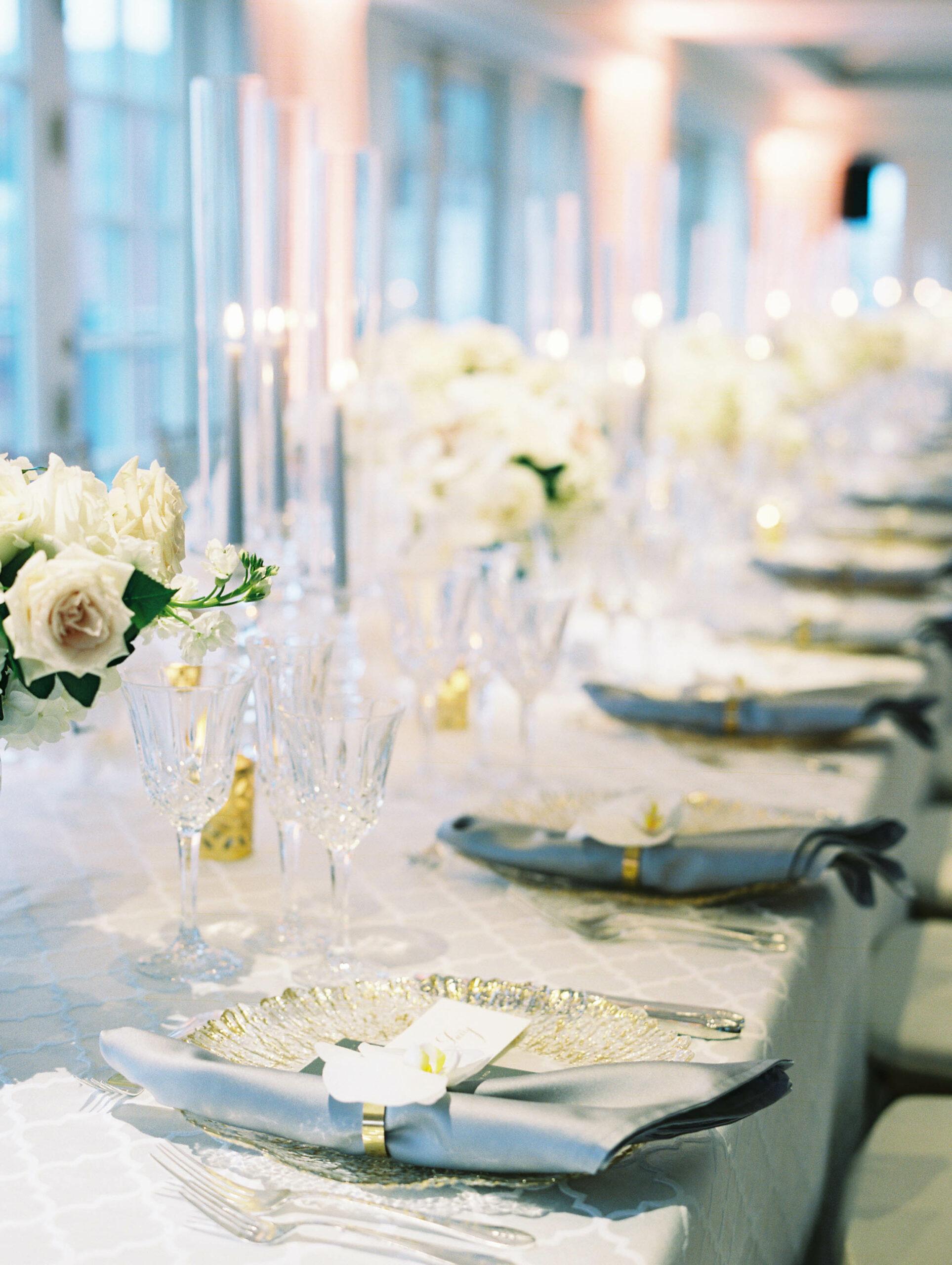 White centerpieces for modern Hay Adams wedding