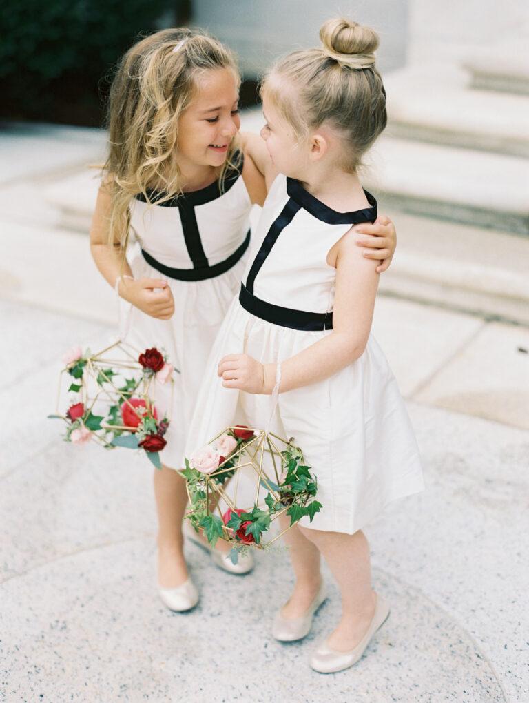 modern flower girls styled by DC wedding planner